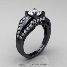 Edwardian 14K Black Gold 1.0 Ct White Sapphire Diamond Engagement Ring R285-14KBGDWS