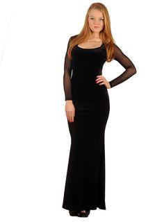 Bayan Elbise Kadife Transparan Siyah | Modelleri ve Uygun Fiyat Avantajıyla | Modabenle