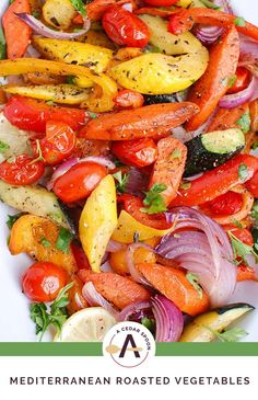 Mediterranean Roasted Vegetables are bursting with the sweet flavors that happen when you roast vegetables along with oregano, thyme and lemon juice. Easy Baked Fish Recipes, Vegetable Recipes, Healthy Recipes, Veggie Food, Roasted Mediterranean Vegetables, Mediterranean Recipes, Grilled Vegetables, Veggies, Cooking