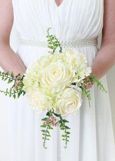 White Peony & Sweet Pea Bouquet | Silk Wedding Bouquet | Afloral.com