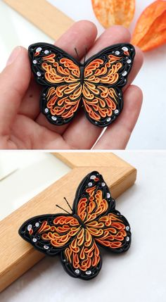 Clay Art Projects, Polymer Clay Projects, Quilling Patterns, Quilling Designs, Butterfly Pin, Monarch Butterfly, Quilling Animals, Quilled Paper Art, Insect Jewelry