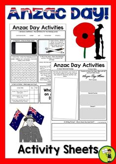 Let us save you time this Anzac Day with our FREE Anzac Day activities.   In this pack you will receive:   Anzac Day Activities - Dictionary Skills - Draw an Anzac Day poppy - Letter Writing - Word Find - Cloze Reading - Fact or Fiction - Writing Prompt - Anzac Memorial Drawing - Anzac Menu - Writing Prompt  Answers are provided also! Writing Words, Fiction Writing, Letter Writing, Cloze Reading, Reading Comprehension, Free Teaching Resources, Teaching Kids, Primary Classroom, Elementary Teacher