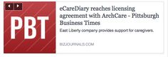 #eCareDiary reaches licensing agreement with #ArchCare. Kris B. Mamula, Pittsburgh Business Times  East Liberty-based eCareDiary, an online community for family caregivers of the elderly, announced a licensing agreement with ArchCare, the nonprofit continuing care community of the Archdiocese of New York.  ArchCare offers Medicare Advantage plans, Medicaid long-term care & other senior services. ArchCare will use ECareDiary's online services to engage & support the needs of #amily…