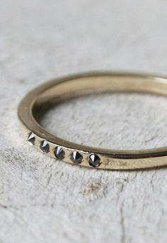 Mackenzie Gold Ring with Black Diamonds by Macha Jewelry