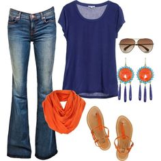 """navy and orange"" by fosterwf on Polyvore"