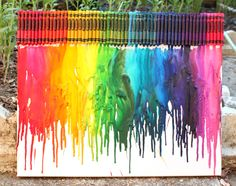 What a great gift idea for someone- melted crayon art.   what you'll need:  tacky glue, box of 64 crayons, canvas, black sharpie pen ( for  silhouette coloring), newspaper or a sheet (to catch the mess), and instructions on what to do.