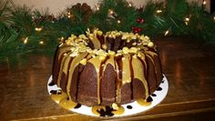Peanut Butter Bundt Cake with peanut butter icing and chocolate drizzle