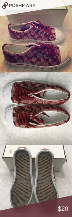 Coach size 6 1/2 tennis shoes in red Coach size 6 tennis shoes. Red big C design. Never worn except for trying on, in box. Left shoes does have a scuff mark on the front as seen in 4th photo. Coach Shoes Sneakers
