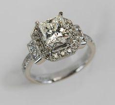 Item 101536 - stunning way to display a Princess cut...and 3.24 carats!