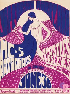 Grande Ballroom 6/30/67 Artist:  Carlson     Performers:  Jefferson Airplane  MC5  Rationals  Apostles  Ourselves