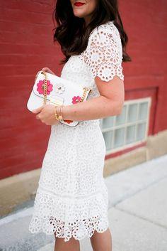 Style || @Bloomingdales Lace Flounce Dress || alilyloveaffair.com