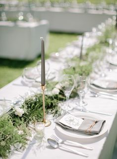 green & grey tablescape