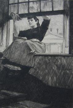 """1884 Auguste Lançon, La servante """"The General Servant."""" Etching"""