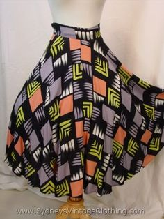 Vintage 50's Retro Abstract Design Rockabilly Swing Circle Skirt.  I NEED THIS!!!!!
