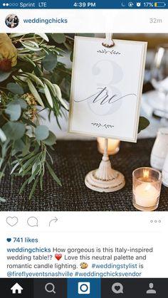 Italian wedding table numbers