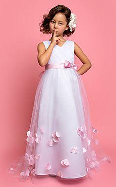 uma linha princesa v-pescoço varrer / escova de trem de tule e cetim vestido da menina flor (551534)