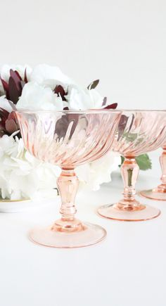 "A beautiful set of four (4) pink champagne glasses from Aroroc made in France sometime in the 1980s. - 4.5""H x 3.75""W - marked France - found in Bordeaux, France - vintage item"