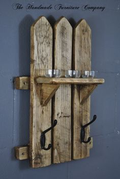 Handmade Rustic Pine Picket Fence Style Wooden Coat Hook Rack and Shelf, £23.99