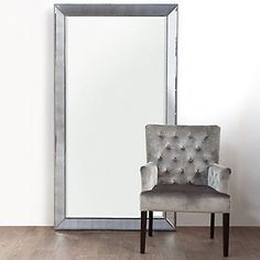 Omni Leaner Mirror from Z Gallerie Beaded Beveled Floor Mirror so chic! Living Room Paint, My Living Room, Leaning Mirror, Wall Mirror, Floor Mirrors, Huge Mirror, Giant Mirror, Mirror Bedroom, Bedroom Decor