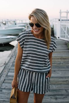 Striped romper for spring and summer styled