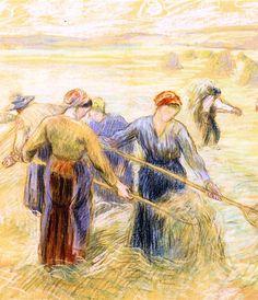 """Camille Pissarro (1830-1903) ~ """"Fenaison (Haymaking"""", c.1901 (Détail) ~ Pastel, Crayon 47 x 61.8 cm ~ Collection Privée"""