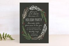 Holiday Wreath Holiday Party Invitations by Alethea and Ruth at minted.com