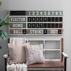 Show your love for your favorite sport with this Vintage Ballpark Scoreboard Chalkboard Wall Plaque. This wall piece will be a homerun hit in your child's room! Vintage Baseball Room, Vintage Sports Nursery, Vintage Sports Decor, Baseball Wall Decor, Baseball Scoreboard, Sports Wall, Baby Room Design, Home Renovation, Boy Rooms