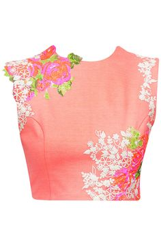 Peach crop top with pink and cream floral detailing available only at Pernia's Pop-Up Shop.
