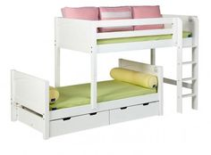 Two beds out of a low loft bed