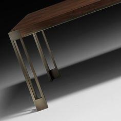 Large Modern Italian Designer Dining Table Wood Furniture Legs, Sideboard Furniture, Steel Furniture, Industrial Furniture, Dining Table Design, Dining Table Chairs, Wood Steel, Wood And Metal, Modern Home Offices