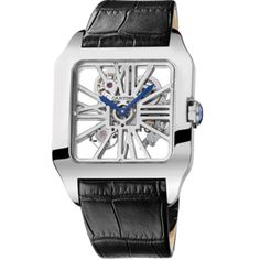 The latest additions to Cartier's exceptional line of open-worked timepieces are two configurations of the Santos-Dumont Skeleton, the and Cartier Santos, Cartier Men, Cartier Watches, Cartier Panthere, Skeleton Watches, Cool Watches, Men's Watches, Dream Watches, Pocket Watches