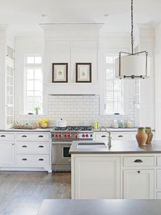 White kitchen, white subway tiles, Wolf range