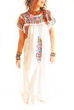 Xochimilco beautiful San Antonino fine Mexican embroidered dress from Aida Coronado