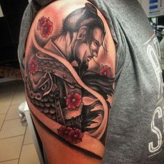 There are thousands of years of history behind every Samurai tattoo, so everything has to be done perfectly. Here are 70 great samurai tattoo designs. Kunst Tattoos, Body Art Tattoos, Hand Tattoos, Sleeve Tattoos, Samurai Tattoo, Yakuza Tattoo, Geisha Tattoos, Tattoo Designs And Meanings, Tattoos With Meaning