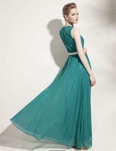 Flower style round collar chiffon conjoined long skirt