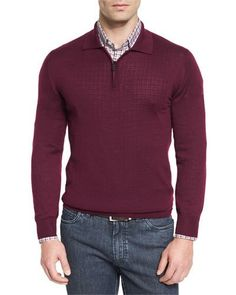 Cashmere-Silk Quarter-Zip Polo Sweater, Burgundy