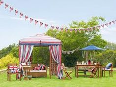 Garden party ideas only 3 more weeks till our jubilee party. British Themed Parties, British Party, Hamptons Party, Conservatory Garden, Lawn Party, British Garden, Queen Birthday, Diy Projects For Beginners, Summer Birthday