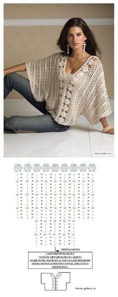 Crochet Tunic Pattern, Gilet Crochet, Crochet Jacket, Freeform Crochet, Crochet Blouse, Easy Crochet Patterns, Crochet Stitches, Knit Crochet, Finger Crochet