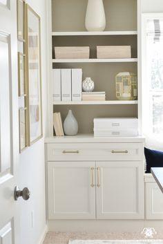 home office makeover pinterest. Neutral, White, And Gold Home Office Makeover With Styled Built-ins  Flanking The Home Office Makeover Pinterest R