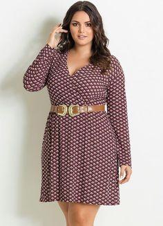 Vestido Decote V Estampa Gravataria Plus Size - Posthaus