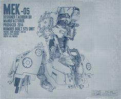 MEK-05 Sci-fi Robot Bust Blueprint shot, Taehoon OH on ArtStation at http://www.artstation.com/artwork/mek-05-sci-fi-robot-bust-blueprint-shot