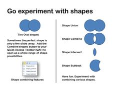 Experiment with the combining features It may not be obvious that PowerPoint has a number of features that let you combine shapes to create new shapes. Sometimes the perfect shape is only a few clicks away. Add the Combine shapes button to your Quick Access Toolbar (QAT) to open up a whole range of shape possibilities. So create various shapes and experiment with shapes you can create by combining them in unusual ways.