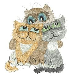 Cats friends free machine embroidery design - Cartoon free embroidery collection - Machine embroidery community