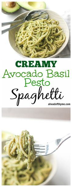 Creamy Avocado Basil Pesto Spaghetti: Treat yourself to the easiest vegan and super creamy avocado basil pesto spaghetti tonight. Ready in 10 minutes, you won't know what do with your free time!   aheadofthyme.com