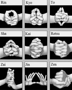 "The ninja are often associated with a type of energy meditation known as ""kuji kiri"" or the nine hand seals, which are… by rulesofthemind Martial Arts Workout, Martial Arts Training, Boxing Workout, Aikido, Art Bouddhique, Karate Do, Ninja Kunst, Karate Shotokan, Art Ninja"