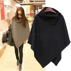 New coreano mulheres Ladies Batwing lã Oversized Casual brasão Jacket Poncho inverno solto manto cabo exteriores 35 em Lã e Mesclas de Roupas e Acessórios Femininos no AliExpress.com | Alibaba Group
