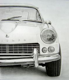 'triumph gt6, 1966' graphite drawing