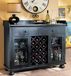 Great weathered wood wine cabinet with two drawers and a side door ...