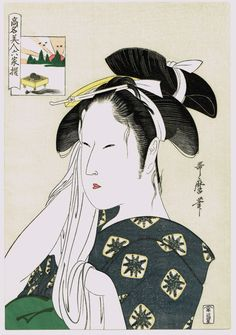 "Japanese Ukiyo-e Woodblock print Utamaro ""The Widow of Hinodeya"""