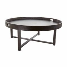 Contemporary Brown Teak Tray Coffee Table